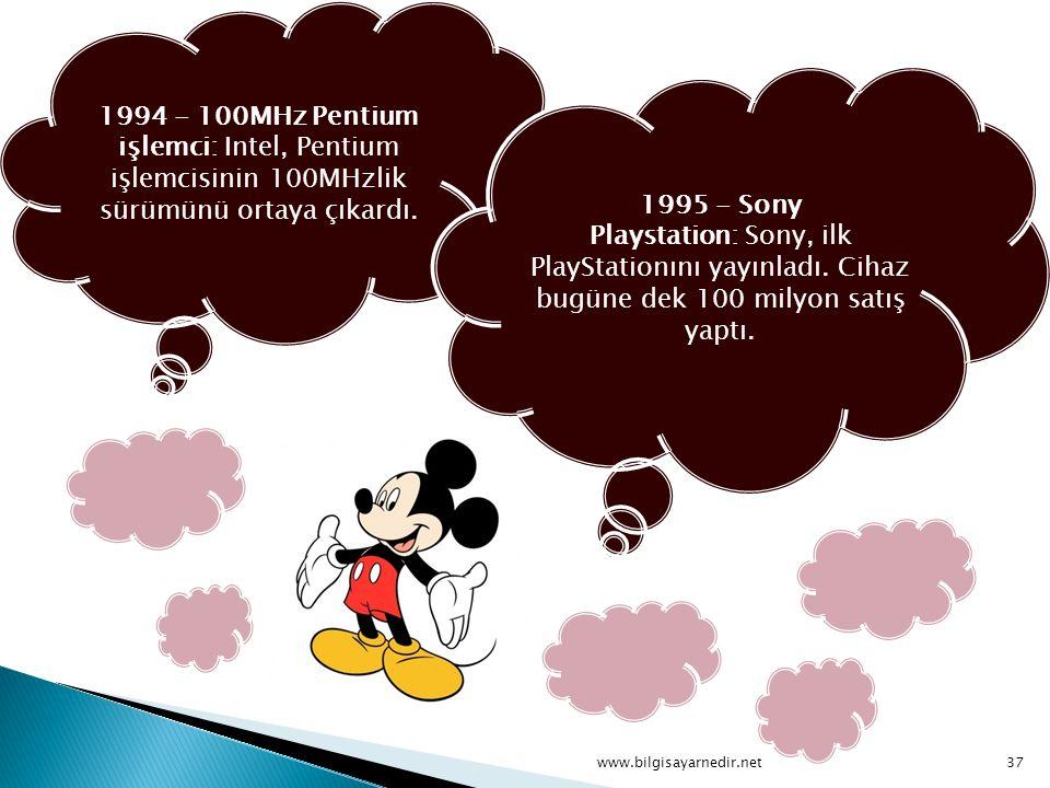 1994 - 100MHz Pentium işlemci: Intel, Pentium işlemcisinin 100MHzlik sürümünü ortaya çıkardı. 1995 - Sony Playstation: Sony, ilk PlayStationını yayınl