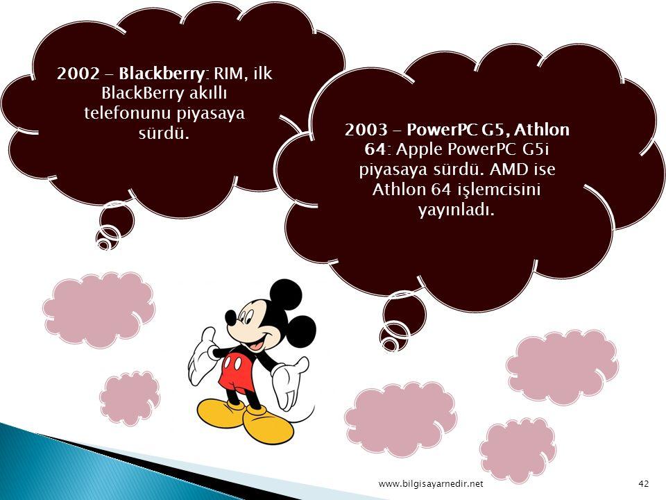 2002 - Blackberry: RIM, ilk BlackBerry akıllı telefonunu piyasaya sürdü. 2003 - PowerPC G5, Athlon 64: Apple PowerPC G5i piyasaya sürdü. AMD ise Athlo