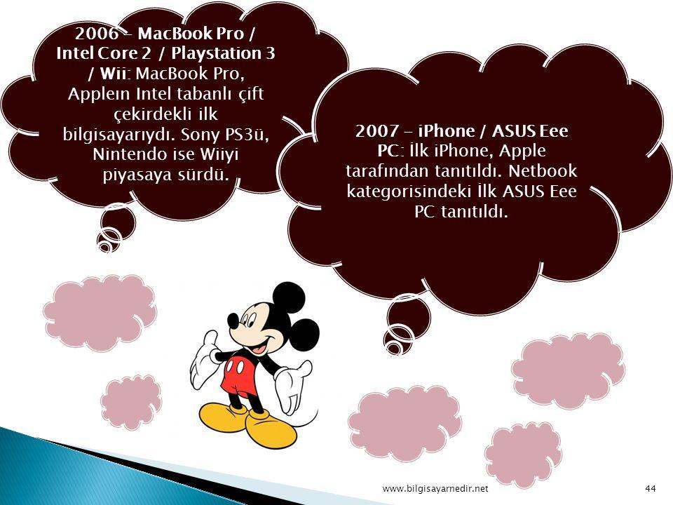 2006 - MacBook Pro / Intel Core 2 / Playstation 3 / Wii: MacBook Pro, Appleın Intel tabanlı çift çekirdekli ilk bilgisayarıydı. Sony PS3ü, Nintendo is