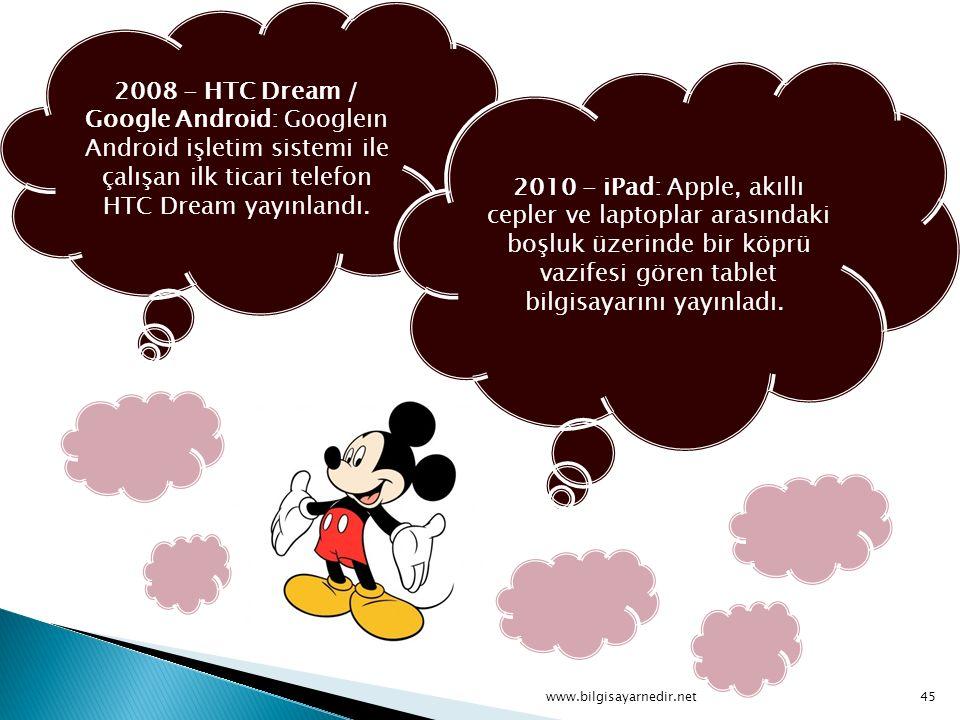 2008 - HTC Dream / Google Android: Googleın Android işletim sistemi ile çalışan ilk ticari telefon HTC Dream yayınlandı. 2010 - iPad: Apple, akıllı ce
