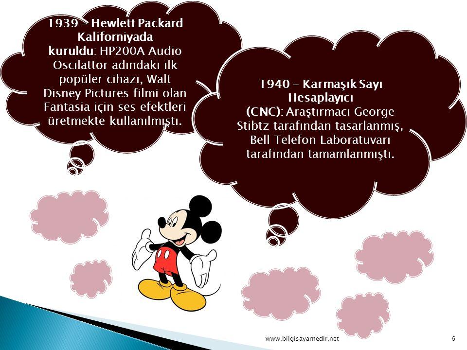 1939 - Hewlett Packard Kaliforniyada kuruldu: HP200A Audio Oscilattor adındaki ilk popüler cihazı, Walt Disney Pictures filmi olan Fantasia için ses efektleri üretmekte kullanılmıştı.