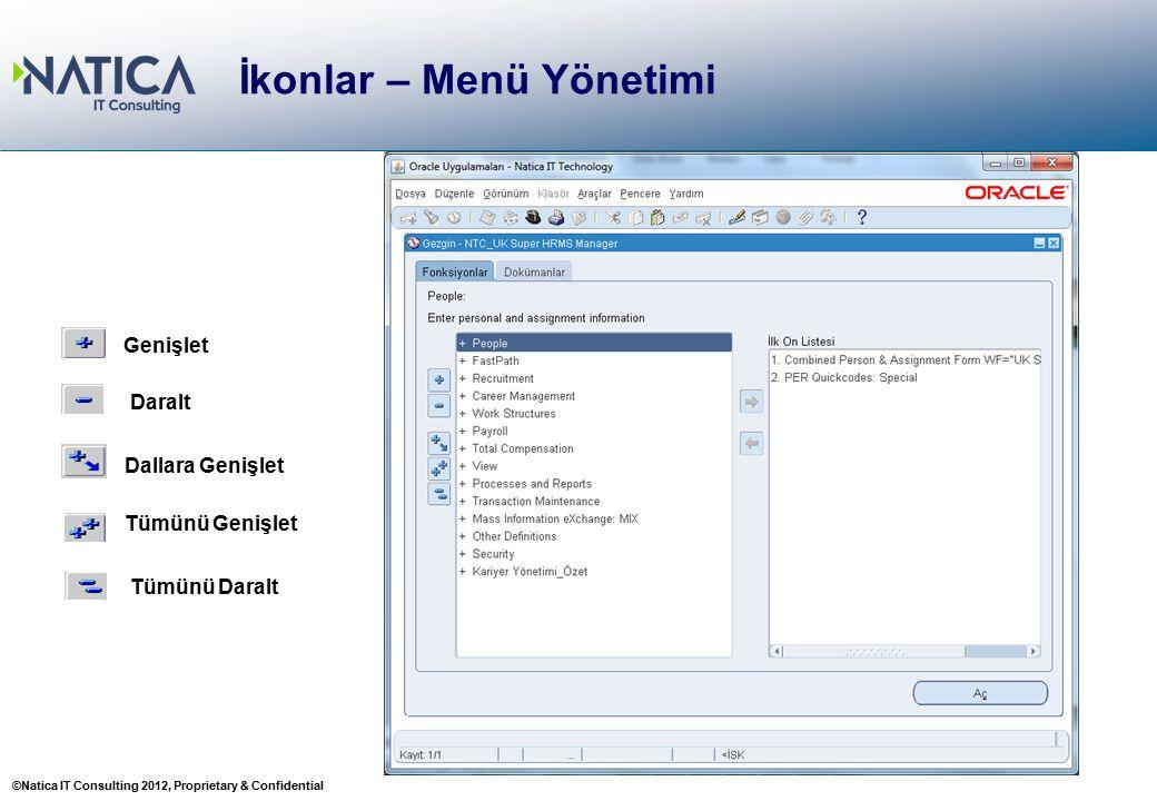 ©Natica IT Consulting 2012, Proprietary & Confidential İkonlar – Menü Yönetimi Genişlet Dallara Genişlet Tümünü Genişlet Daralt Tümünü Daralt