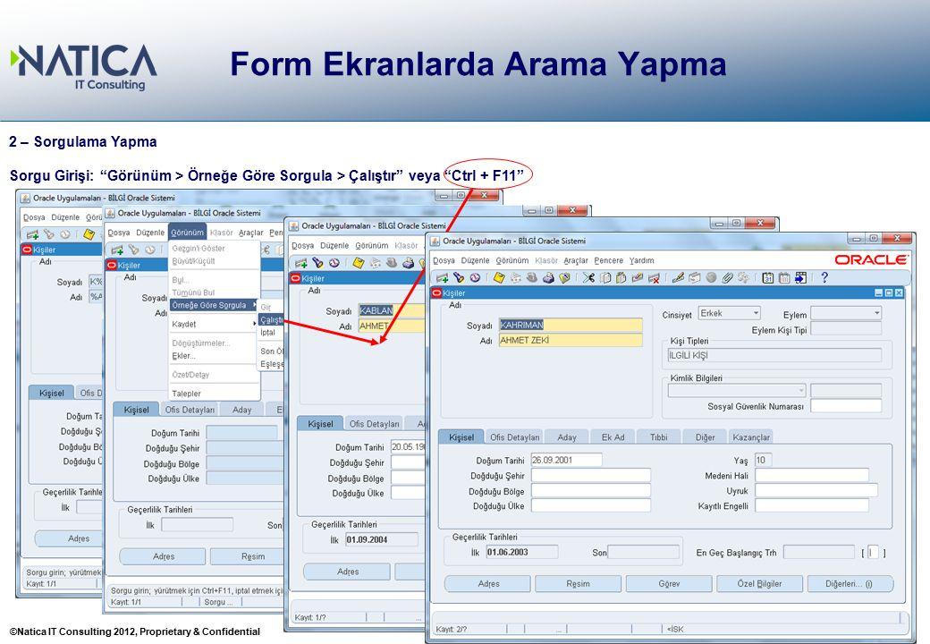 """©Natica IT Consulting 2012, Proprietary & Confidential 22 Form Ekranlarda Arama Yapma 22 2 – Sorgulama Yapma Sorgu Girişi: """"Görünüm > Örneğe Göre Sorg"""