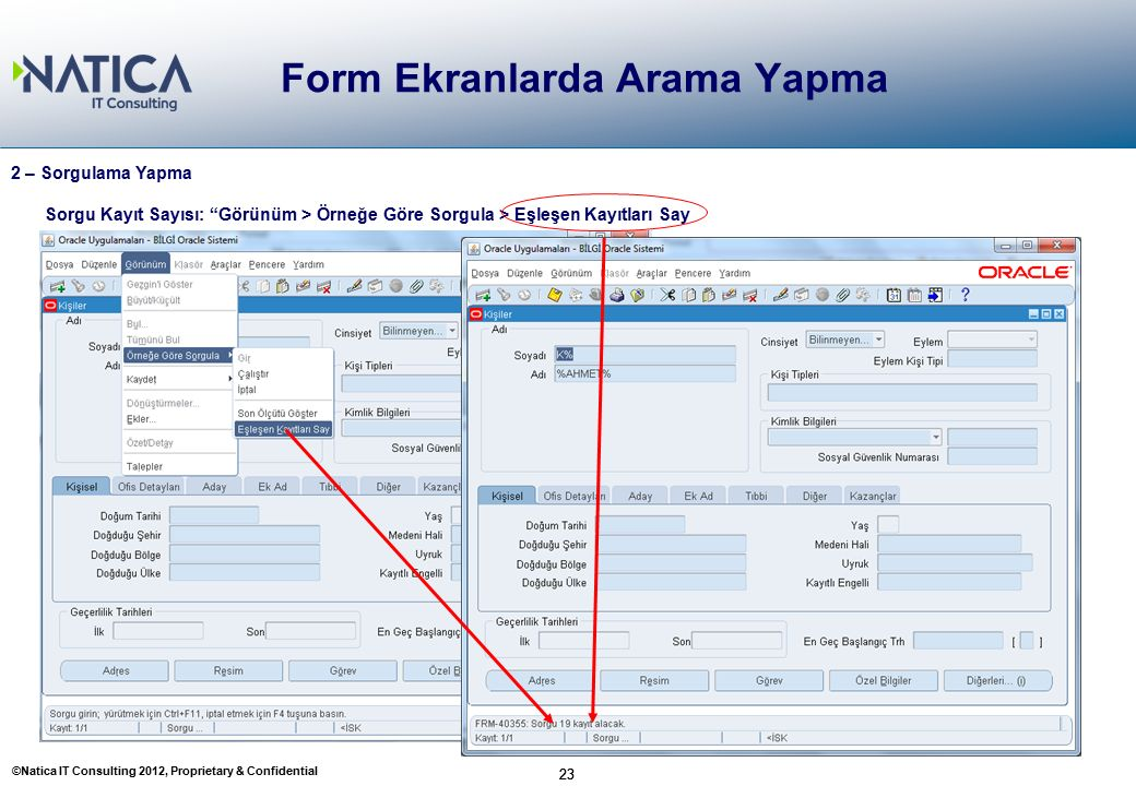 """©Natica IT Consulting 2012, Proprietary & Confidential 23 Form Ekranlarda Arama Yapma 23 2 – Sorgulama Yapma Sorgu Kayıt Sayısı: """"Görünüm > Örneğe Gör"""