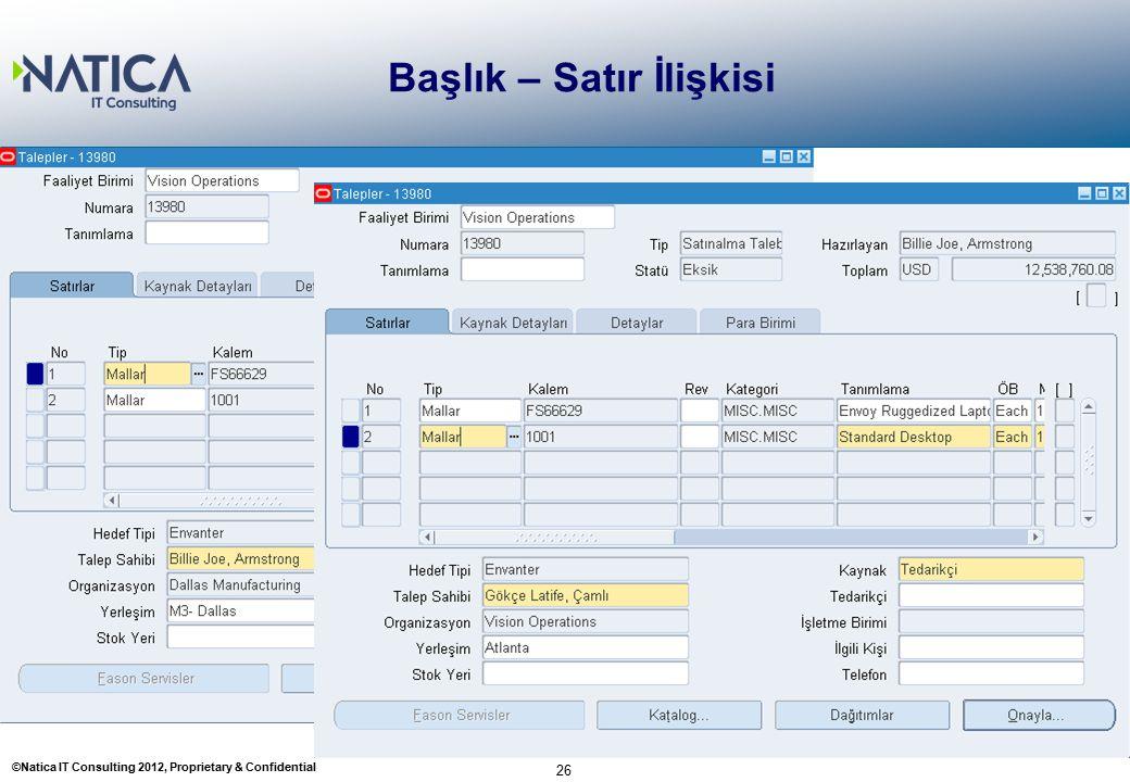 ©Natica IT Consulting 2012, Proprietary & Confidential Başlık – Satır İlişkisi 26