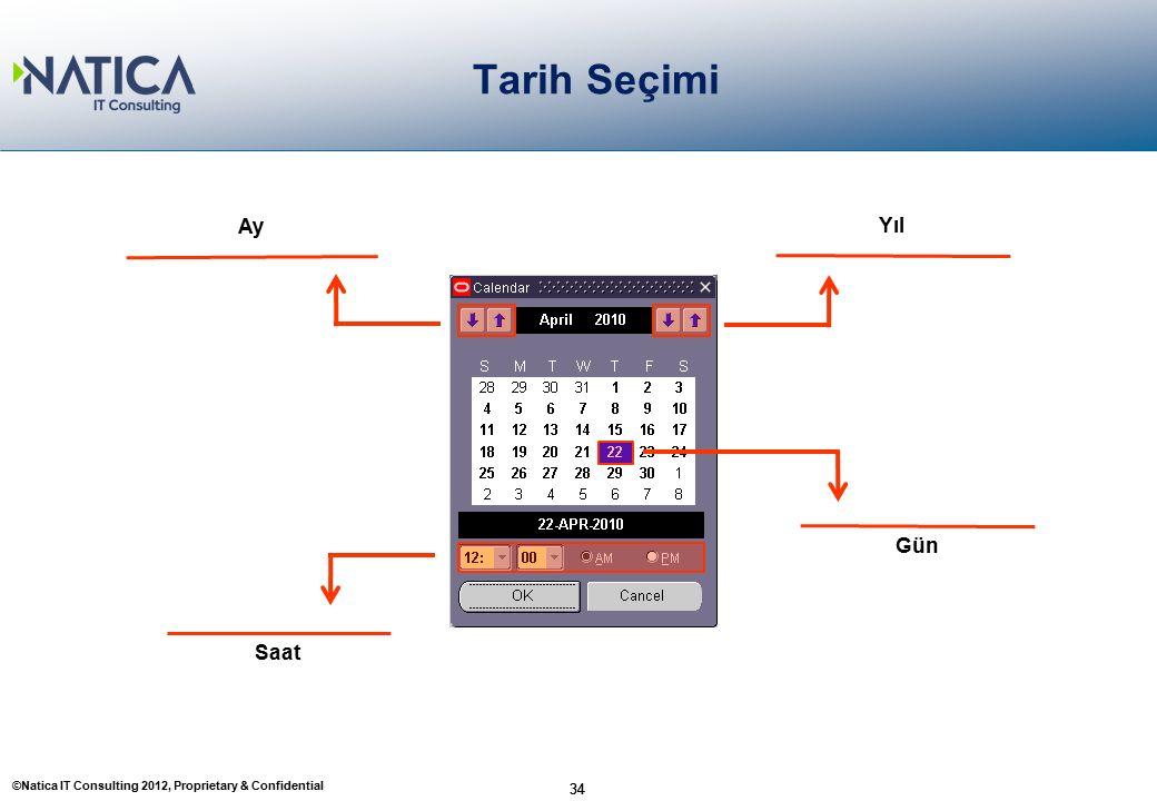 ©Natica IT Consulting 2012, Proprietary & Confidential 34 Tarih Seçimi 34 Yıl Gün Saat Ay