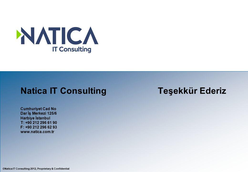 ©Natica IT Consulting 2012, Proprietary & Confidential Natica IT ConsultingTeşekkür Ederiz Cumhuriyet Cad No Dar İş Merkezi 125/6 Harbiye İstanbul T: