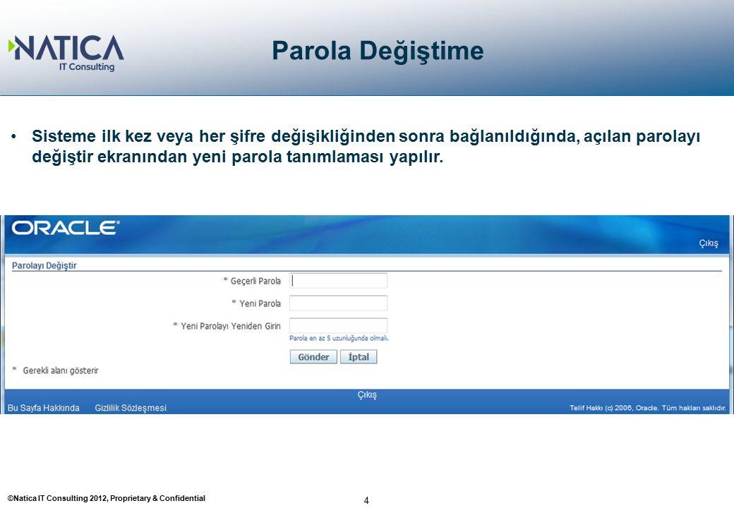 ©Natica IT Consulting 2012, Proprietary & Confidential 4 Parola Değiştime Sisteme ilk kez veya her şifre değişikliğinden sonra bağlanıldığında, açılan