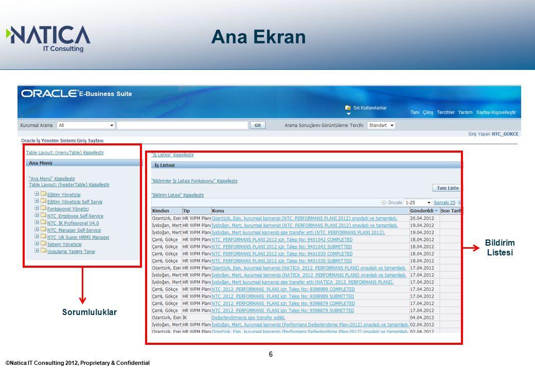 ©Natica IT Consulting 2012, Proprietary & Confidential Ana Ekran 66 Sorumluluklar Bildirim Listesi