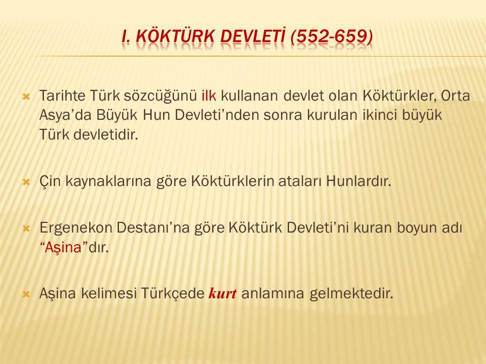  Tarihte Türk sözcüğünü ilk kullanan devlet olan Köktürkler, Orta Asya'da Büyük Hun Devleti'nden sonra kurulan ikinci büyük Türk devletidir.  Çin ka