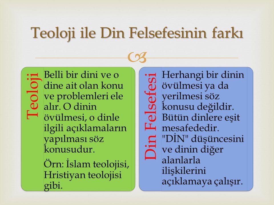  Teoloji Belli bir dini ve o dine ait olan konu ve problemleri ele alır. O dinin övülmesi, o dinle ilgili açıklamaların yapılması söz konusudur. Örn: