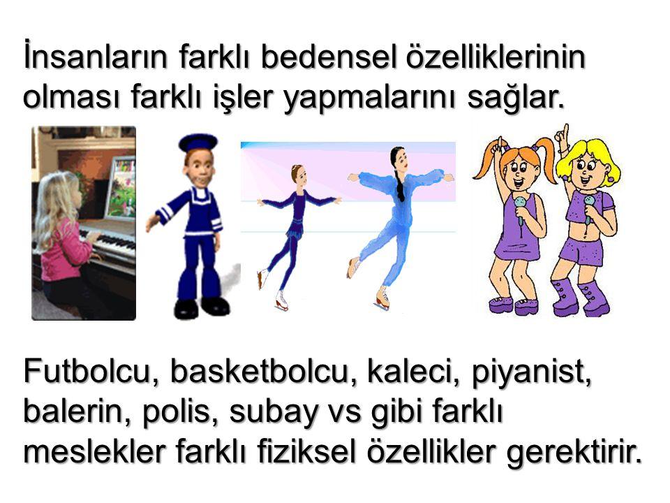 İnsanların farklı bedensel özelliklerinin olması farklı işler yapmalarını sağlar. Futbolcu, basketbolcu, kaleci, piyanist, balerin, polis, subay vs gi
