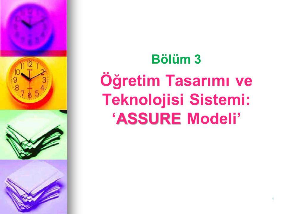 ASSURE Modeli: Öğretimde Medya ve Teknolojinin Sistematik Kullanımı Ünitenin içeriği: 1.