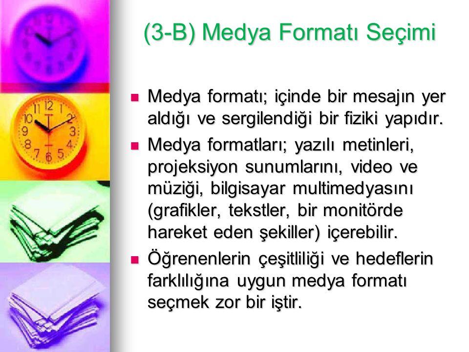 (3-B) Medya Formatı Seçimi Medya formatı; içinde bir mesajın yer aldığı ve sergilendiği bir fiziki yapıdır. Medya formatı; içinde bir mesajın yer aldı