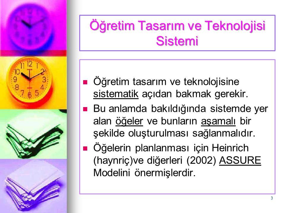 Öğretim Tasarım ve Teknolojisi Sistemi Öğretim tasarım ve teknolojisine sistematik açıdan bakmak gerekir. Bu anlamda bakıldığında sistemde yer alan öğ
