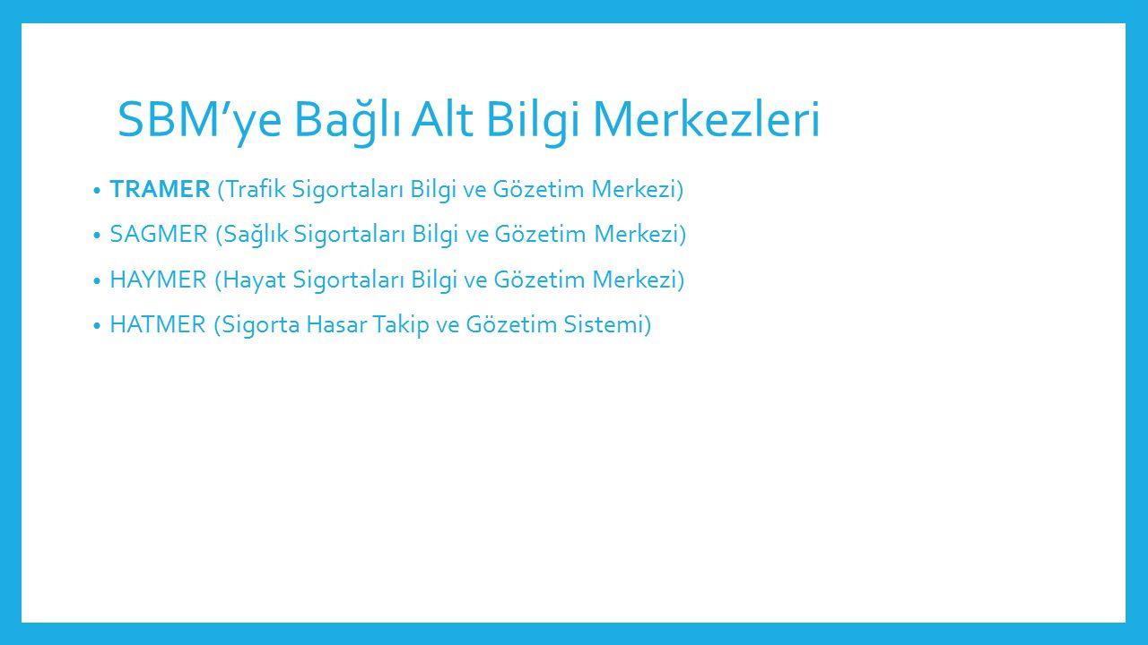 SBM'ye Bağlı Alt Bilgi Merkezleri TRAMER (Trafik Sigortaları Bilgi ve Gözetim Merkezi) SAGMER (Sağlık Sigortaları Bilgi ve Gözetim Merkezi) HAYMER (Ha