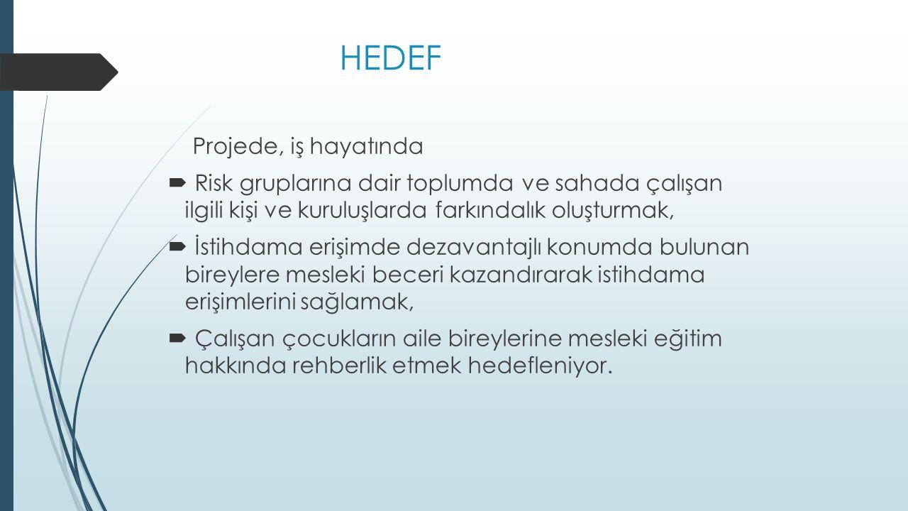 HEDEF Projede, iş hayatında  Risk gruplarına dair toplumda ve sahada çalışan ilgili kişi ve kuruluşlarda farkındalık oluşturmak,  İstihdama erişimde dezavantajlı konumda bulunan bireylere mesleki beceri kazandırarak istihdama erişimlerini sağlamak,  Çalışan çocukların aile bireylerine mesleki eğitim hakkında rehberlik etmek hedefleniyor.