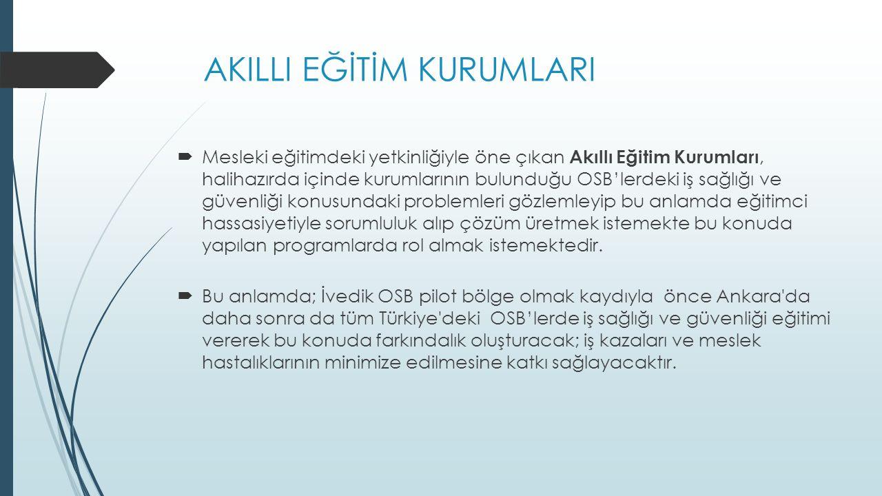 AKILLI EĞİTİM KURUMLARI  Bu anlamda; İvedik OSB pilot bölge olmak kaydıyla önce Ankara da daha sonra da tüm Türkiye deki OSB'lerde iş sağlığı ve güvenliği eğitimi vererek bu konuda farkındalık oluşturacak; iş kazaları ve meslek hastalıklarının minimize edilmesine katkı sağlayacaktır.