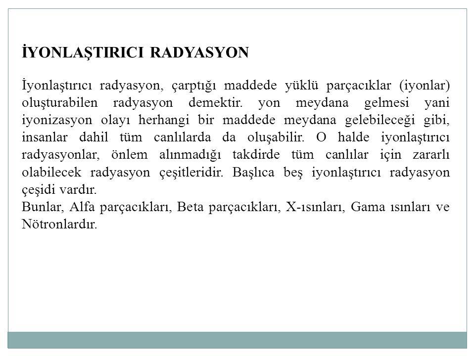 İYONLAŞTIRICI RADYASYON İyonlaştırıcı radyasyon, çarptığı maddede yüklü parçacıklar (iyonlar) oluşturabilen radyasyon demektir. yon meydana gelmesi ya