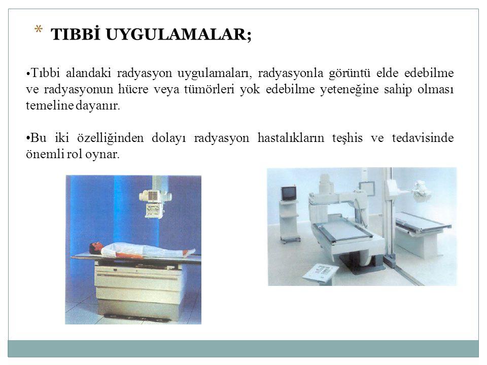 Tıbbi alandaki radyasyon uygulamaları, radyasyonla görüntü elde edebilme ve radyasyonun hücre veya tümörleri yok edebilme yeteneğine sahip olması teme