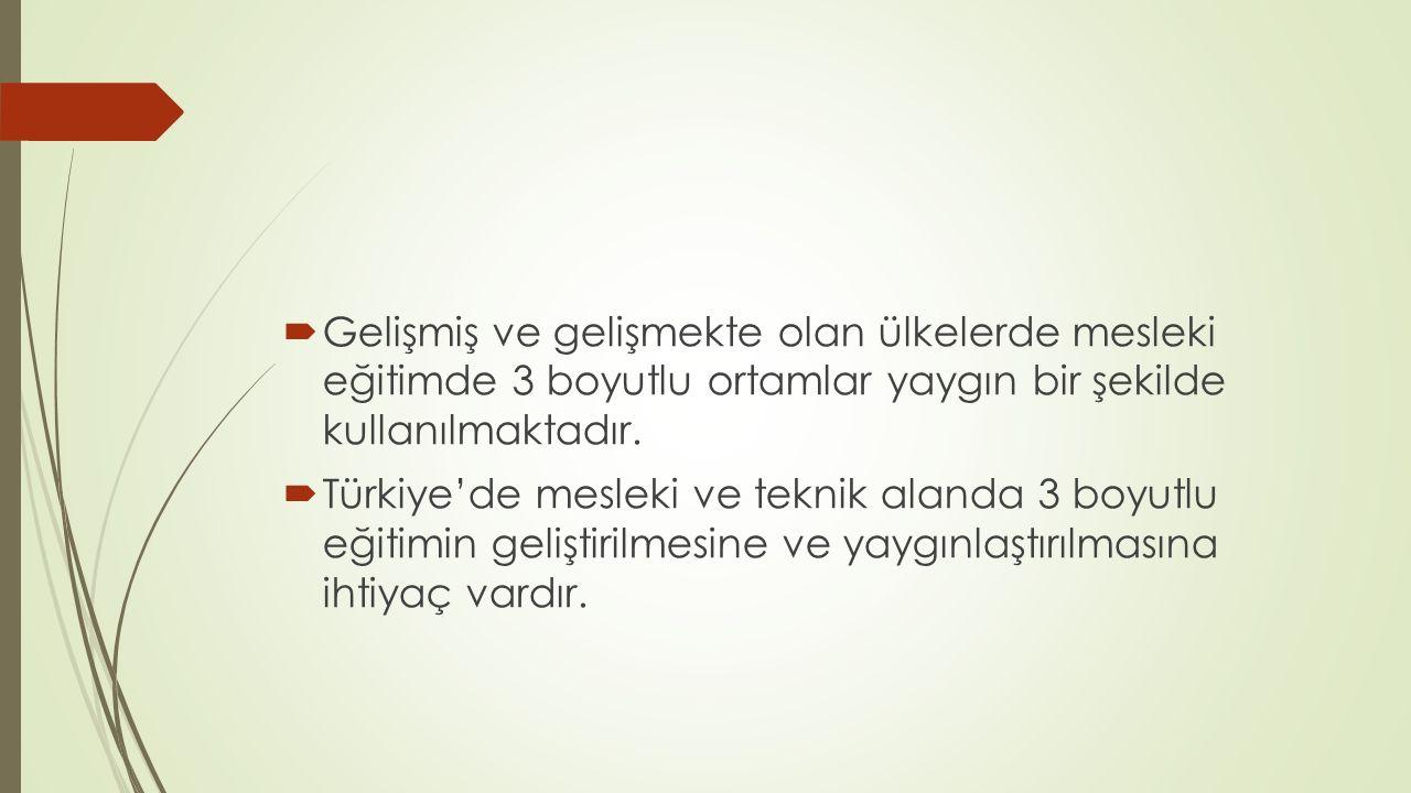  Gelişmiş ve gelişmekte olan ülkelerde mesleki eğitimde 3 boyutlu ortamlar yaygın bir şekilde kullanılmaktadır.  Türkiye'de mesleki ve teknik alanda