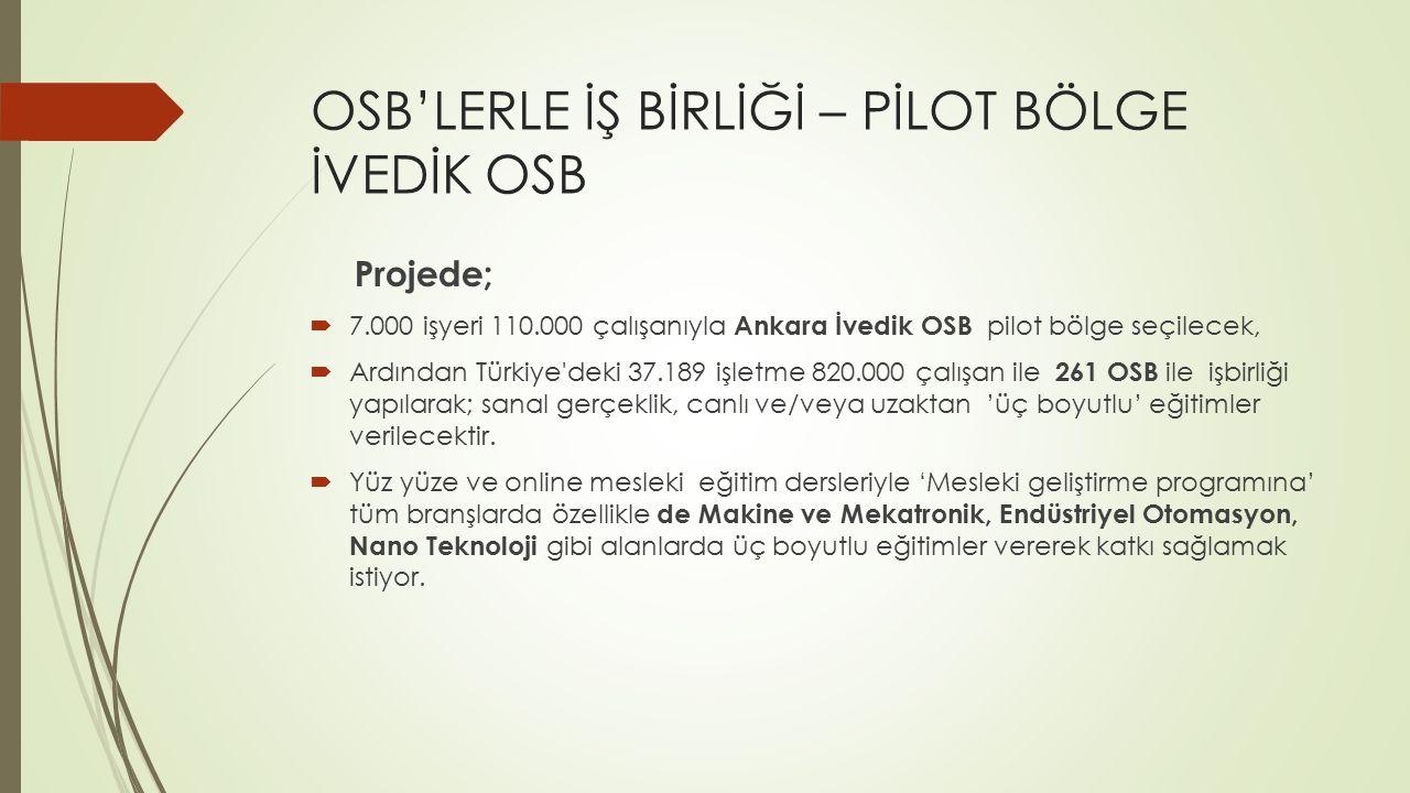 OSB'LERLE İŞ BİRLİĞİ – PİLOT BÖLGE İVEDİK OSB Projede;  7.000 işyeri 110.000 çalışanıyla Ankara İvedik OSB pilot bölge seçilecek,  Ardından Türkiye'
