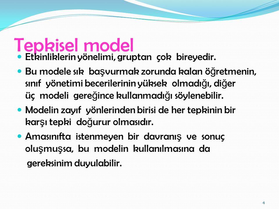 Canter Modeli (Güvengen Disiplin Modeli) Bu modelde ö ğ retmen Cezalandırıcı eyleme ba ş lamadan önce Gizli ileti, ipuçları düzenler.
