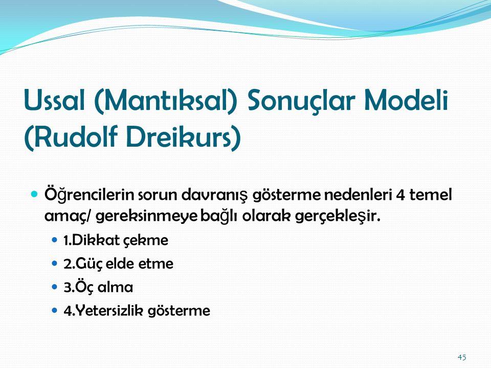 Ussal (Mantıksal) Sonuçlar Modeli (Rudolf Dreikurs) Ö ğ rencilerin sorun davranı ş gösterme nedenleri 4 temel amaç/ gereksinmeye ba ğ lı olarak gerçek