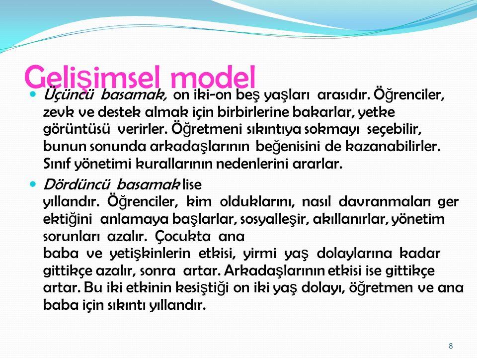Bütünsel model Bütünsel sınıf yönetimi modeli önceki üç modelin bir sentezi olarak görülebilir.