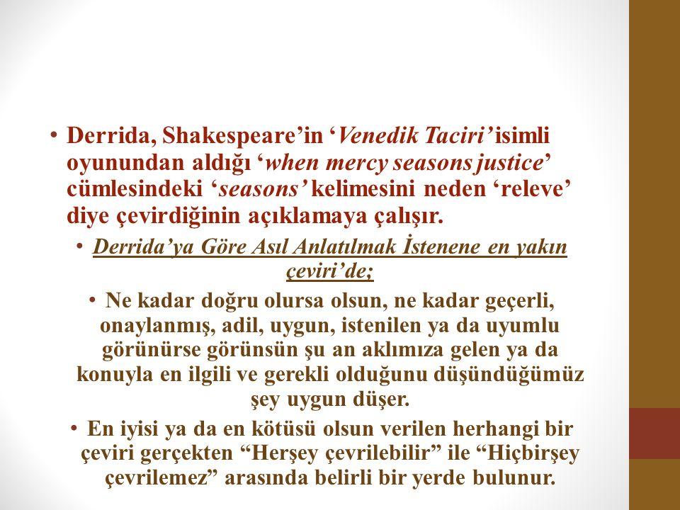Derrida, Shakespeare'in 'Venedik Taciri' isimli oyunundan aldığı 'when mercy seasons justice' cümlesindeki 'seasons' kelimesini neden 'releve' diye çe