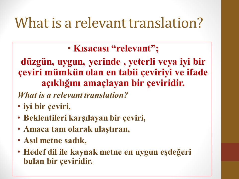 What is a relevant translation.