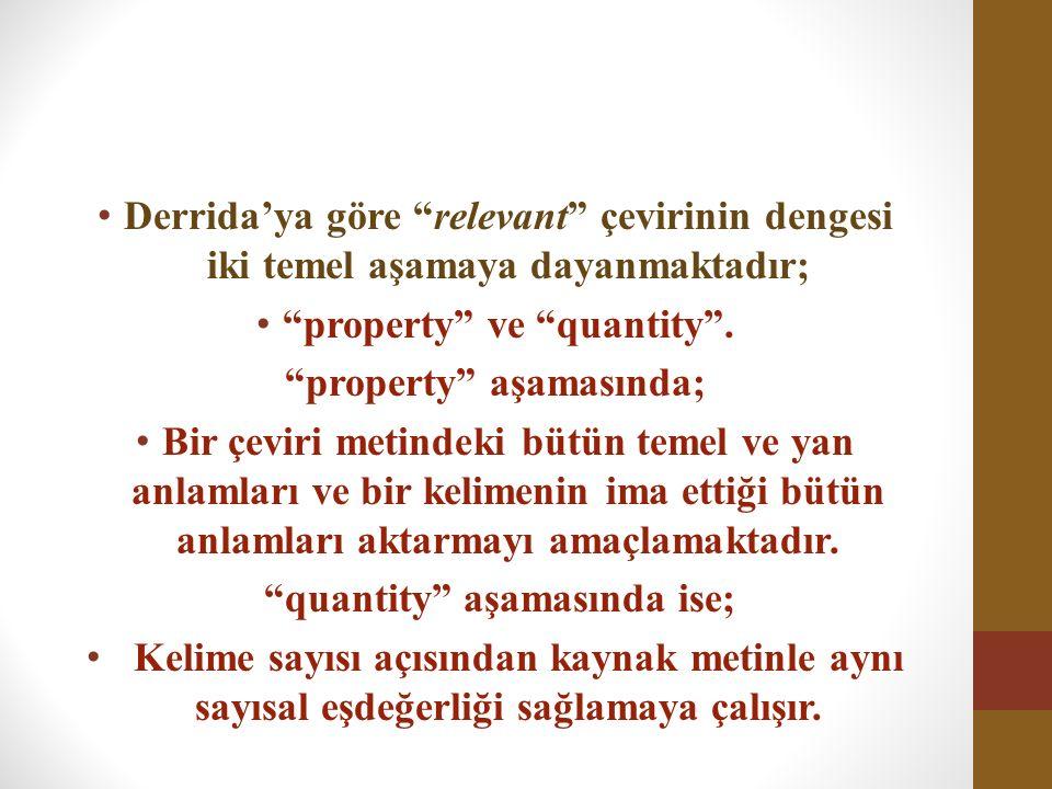 """Derrida'ya göre """"relevant"""" çevirinin dengesi iki temel aşamaya dayanmaktadır; """"property"""" ve """"quantity"""". """"property"""" aşamasında; Bir çeviri metindeki bü"""