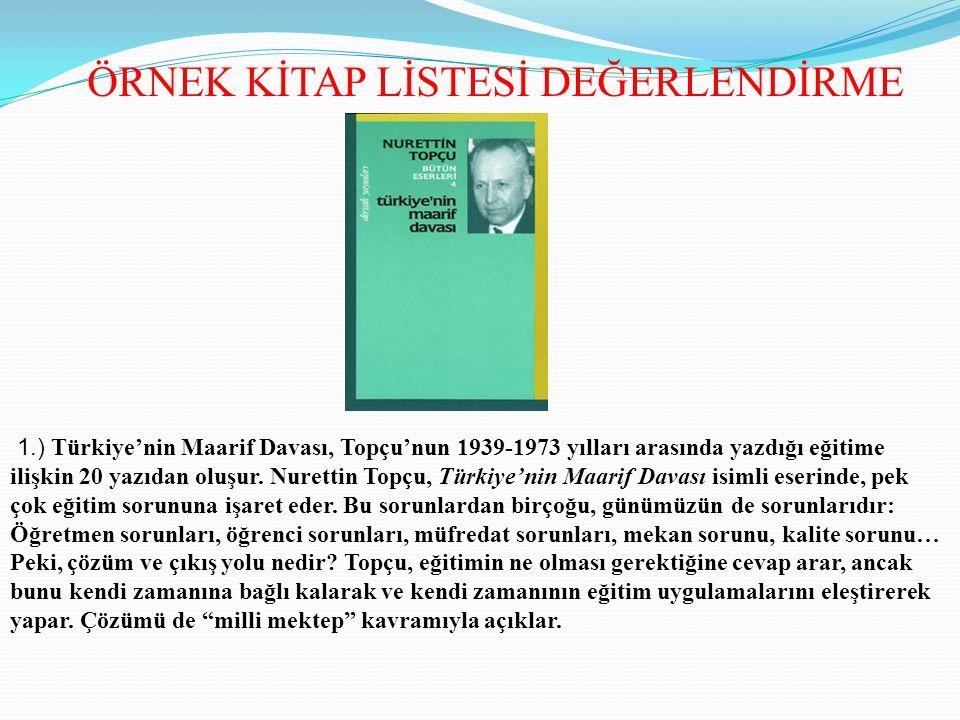 ÖRNEK KİTAP LİSTESİ DEĞERLENDİRME 1.) Türkiye'nin Maarif Davası, Topçu'nun 1939-1973 yılları arasında yazdığı eğitime ilişkin 20 yazıdan oluşur. Nuret