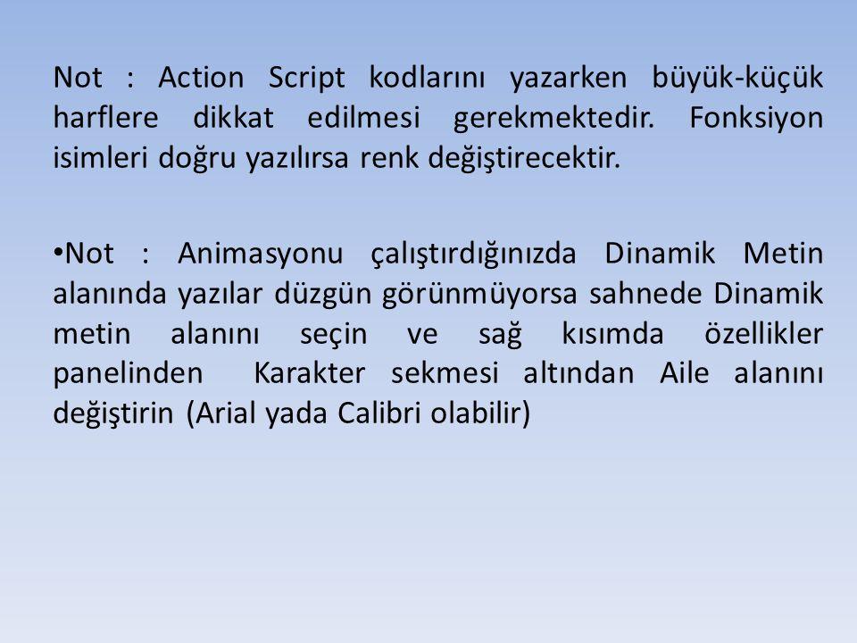 Not : Action Script kodlarını yazarken büyük-küçük harflere dikkat edilmesi gerekmektedir.