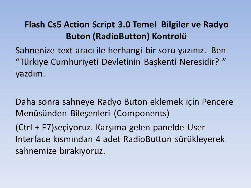 Herbir radyo butonu tıkladıktan sonra sağdaki özellikler panelinden aşağıdaki resimde görülen iki alanı değiştireceğiz.