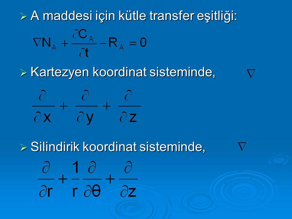  A maddesi için kütle transfer eşitliği:  Kartezyen koordinat sisteminde,  Silindirik koordinat sisteminde,