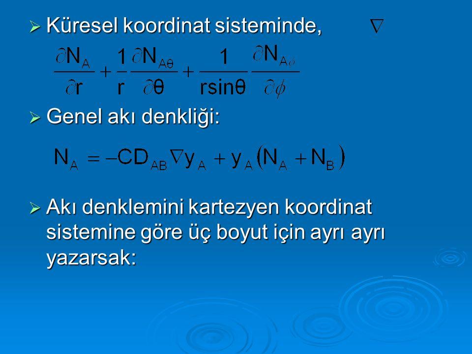  Küresel koordinat sisteminde,  Genel akı denkliği:  Akı denklemini kartezyen koordinat sistemine göre üç boyut için ayrı ayrı yazarsak:
