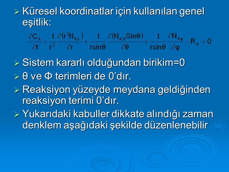  Küresel koordinatlar için kullanılan genel eşitlik:  Sistem kararlı olduğundan birikim=0  θ ve Φ terimleri de 0'dır.