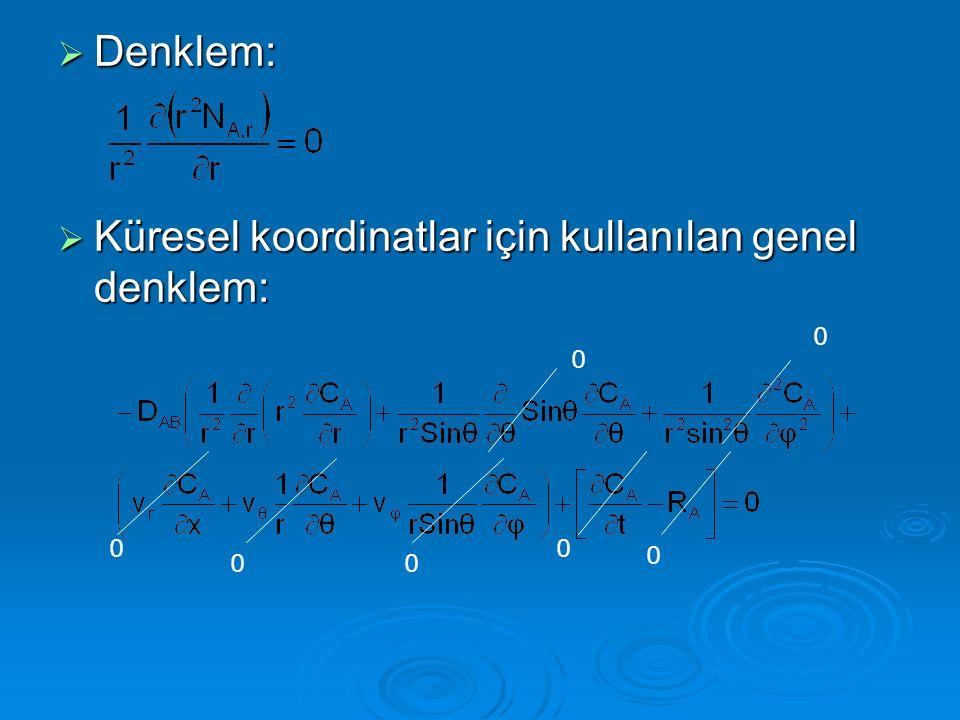  Denklem:  Küresel koordinatlar için kullanılan genel denklem: 0 0 0 00 0 0