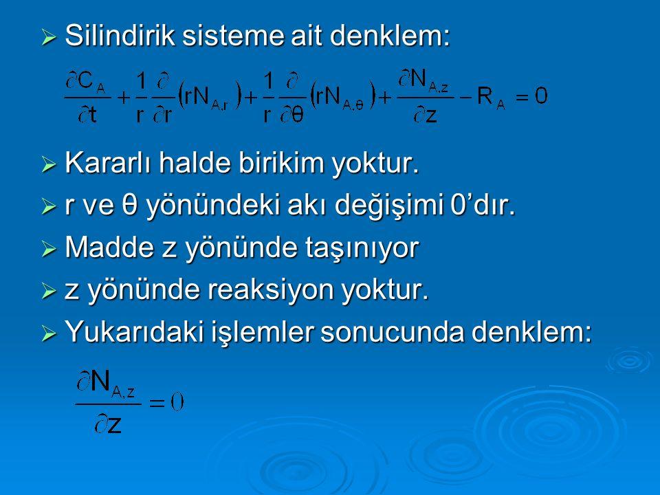  Silindirik sisteme ait denklem:  Kararlı halde birikim yoktur.