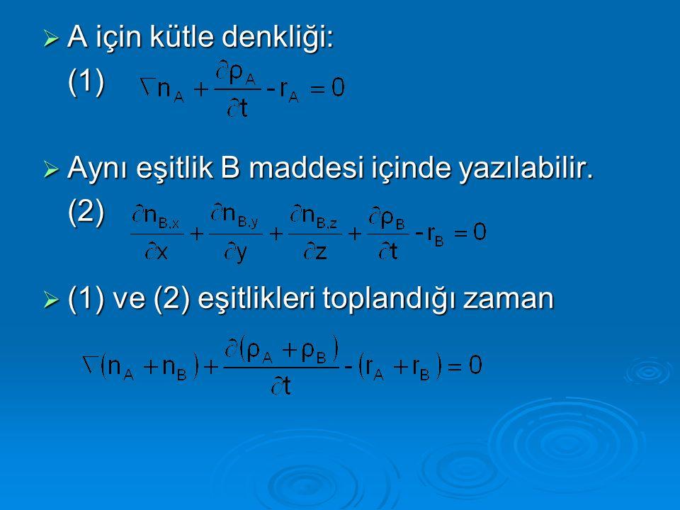  Toplam yoğunluk ve kütle akıları dikkate alınarak denklem düzenlenirse toplam kütle denkliği ve A ve B'nin mol cinsinden denklikleri bulunabilir.