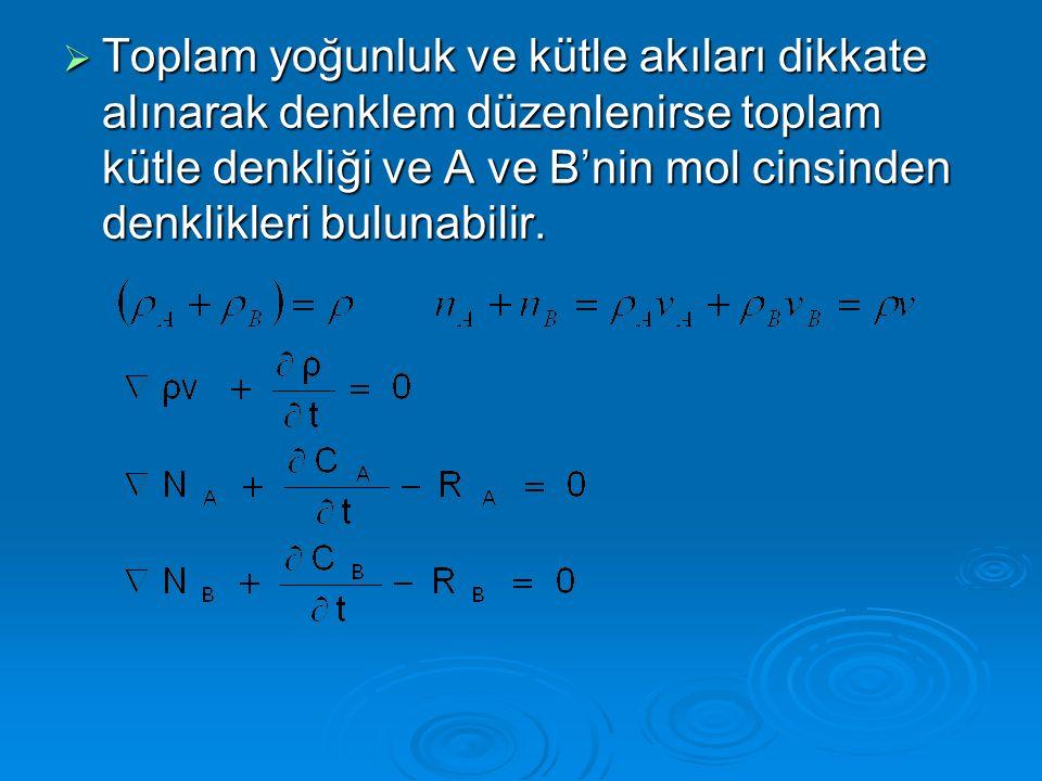  Yukarıdaki A ve B'nin akı eşitlikleri toplanırsa:  Mol cinsinden toplam kütle denkliği:  Kütle transferi işlemlerinde kullanılan denklem: