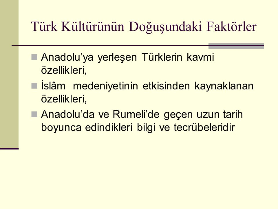 Türk Kültürünün Doğuşundaki Faktörler Anadolu'ya yerleşen Türklerin kavmi özellikleri, İslâm medeniyetinin etkisinden kaynaklanan özellikleri, Anadolu