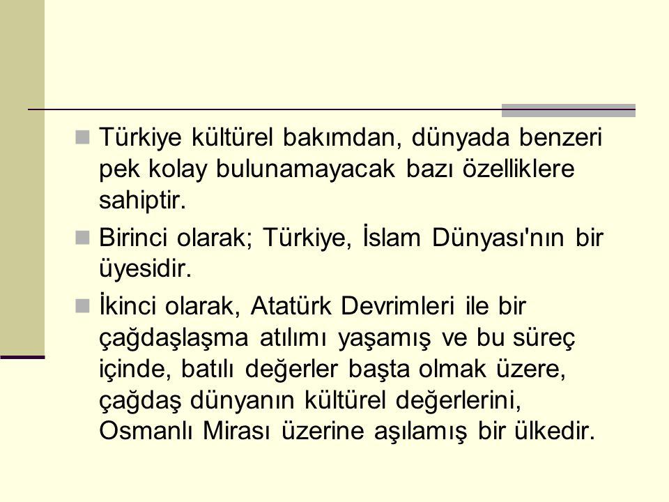 Türkiye kültürel bakımdan, dünyada benzeri pek kolay bulunamayacak bazı özelliklere sahiptir. Birinci olarak; Türkiye, İslam Dünyası'nın bir üyesidir.
