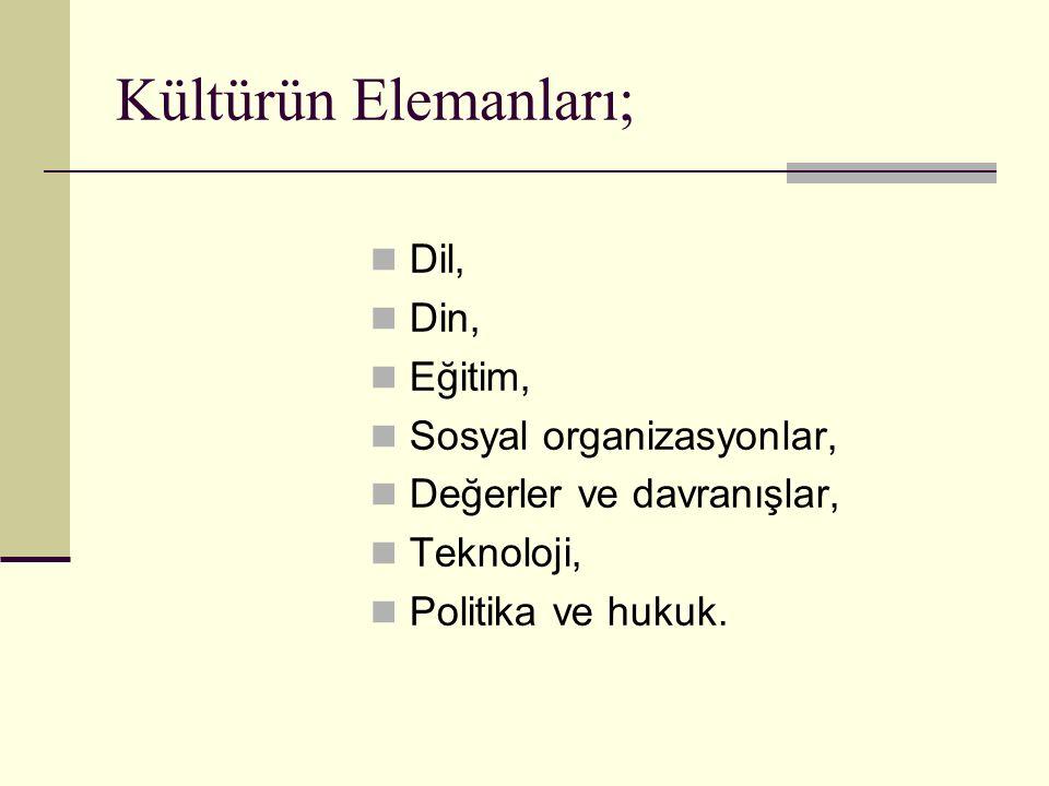Kültürün Elemanları; Dil, Din, Eğitim, Sosyal organizasyonlar, Değerler ve davranışlar, Teknoloji, Politika ve hukuk.
