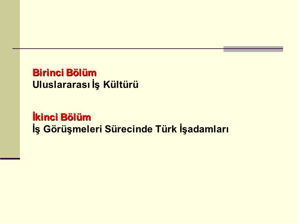ULUSLARARASI PAZAR Türk Kültürü Türk Görüşmeci Davranışı Ait Oldukları Kültür Farklı Kültürden Görüşmeci Davranışı İletişim İş Görüşme Süreci Zaman Müzakerelerin Başarılı veya Başarısız Sonuçlanması