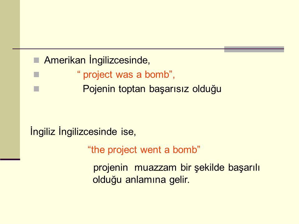 """Amerikan İngilizcesinde, """" project was a bomb"""", Pojenin toptan başarısız olduğu İngiliz İngilizcesinde ise, """"the project went a bomb"""" projenin muazzam"""