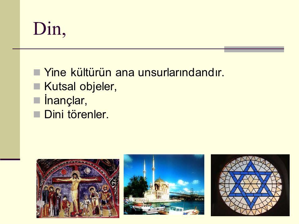 Din, Yine kültürün ana unsurlarındandır. Kutsal objeler, İnançlar, Dini törenler.