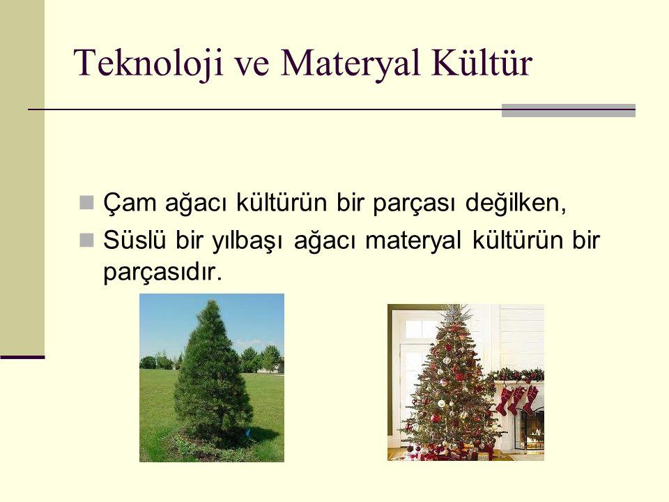 Teknoloji ve Materyal Kültür Çam ağacı kültürün bir parçası değilken, Süslü bir yılbaşı ağacı materyal kültürün bir parçasıdır.