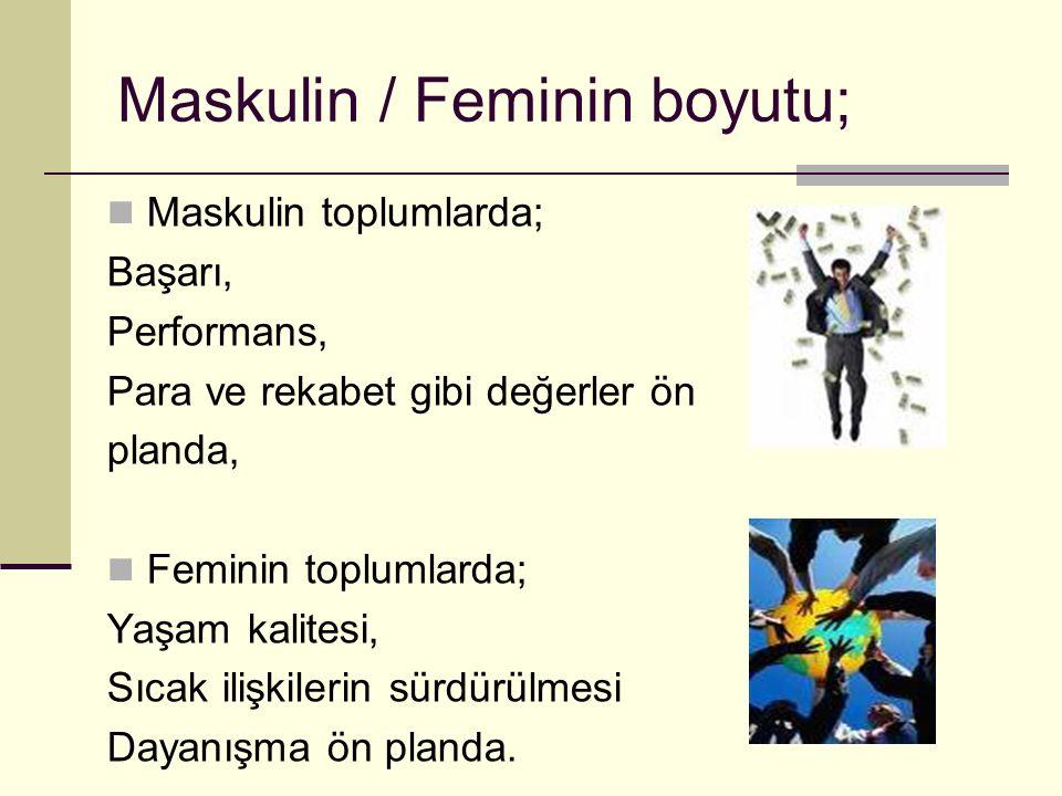 Maskulin / Feminin boyutu; Maskulin toplumlarda; Başarı, Performans, Para ve rekabet gibi değerler ön planda, Feminin toplumlarda; Yaşam kalitesi, Sıc